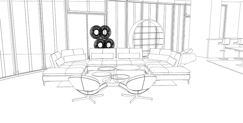 The 2D perspective drawing, with furniture and fabrics in place.