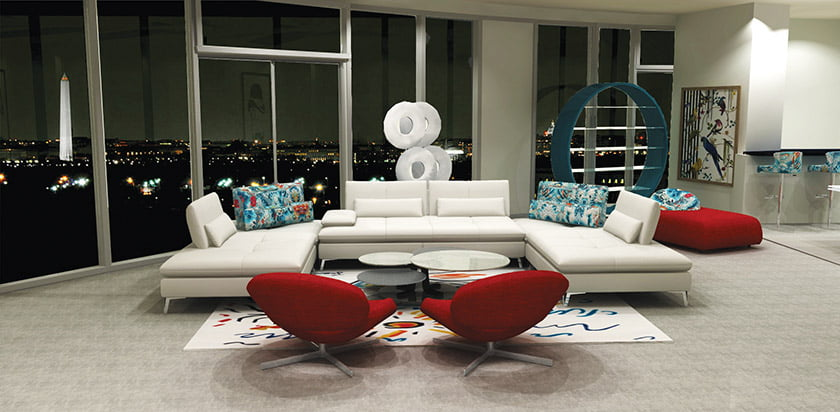 Roche Bobois created a 3D visualization Of a client's apartment in Arlington's Turnberry Tower.