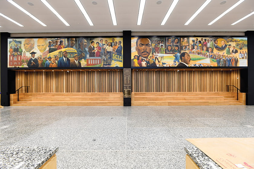 A 1986 mural depicting King's life was removed, restored and reinstalled in the great hall; a casual seating area was carved out below it.