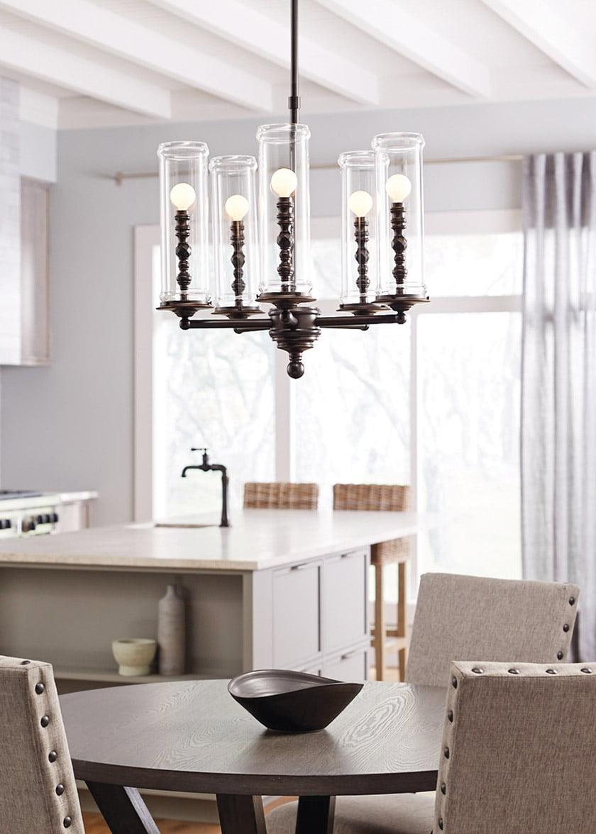 Kohler's Damask Cloud five-light chandelier.