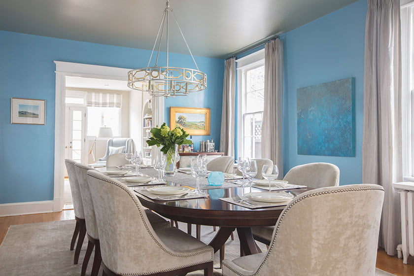 Pitts enlivened the dark room with a strong shot of turquoise-blue, Sherwin Williams'  Open Seas.