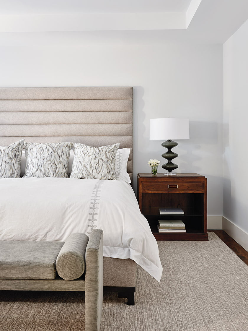 A Vanguard bedstead and nightstands anchor the master bedroom.