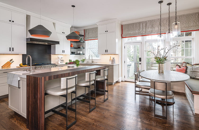 Meghan Browne collaborated with designer Mary Jo Donohue on a Bethesda kitchen enriched by a detailed lighting plan.