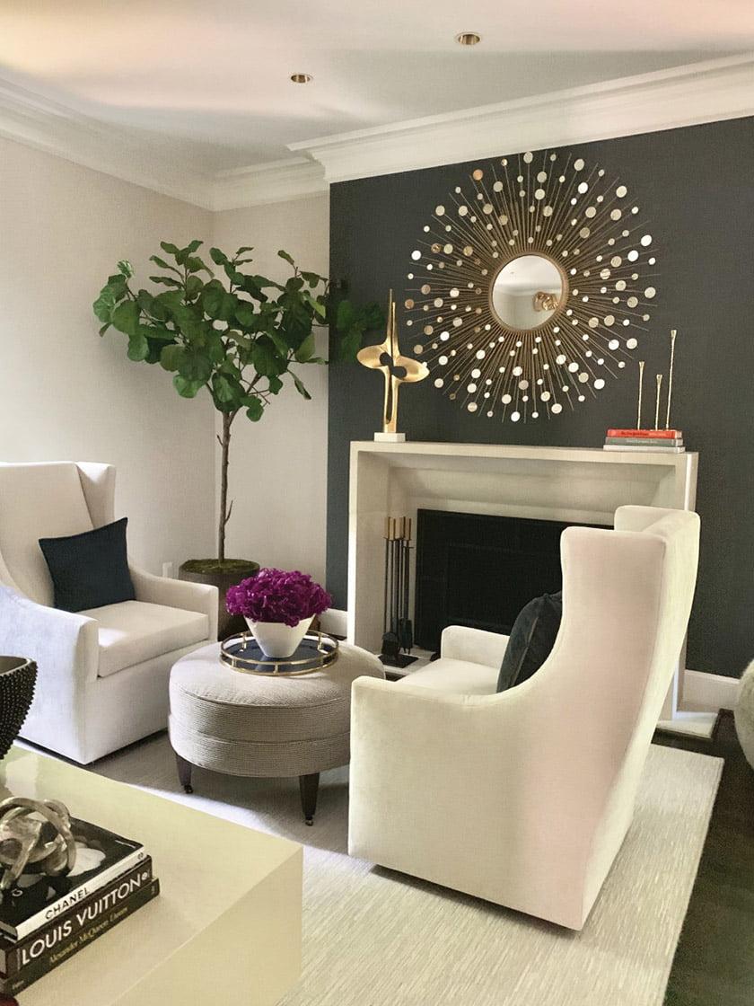 The new, modern fireplace wall. Photo: Geoffrey Hodgdon
