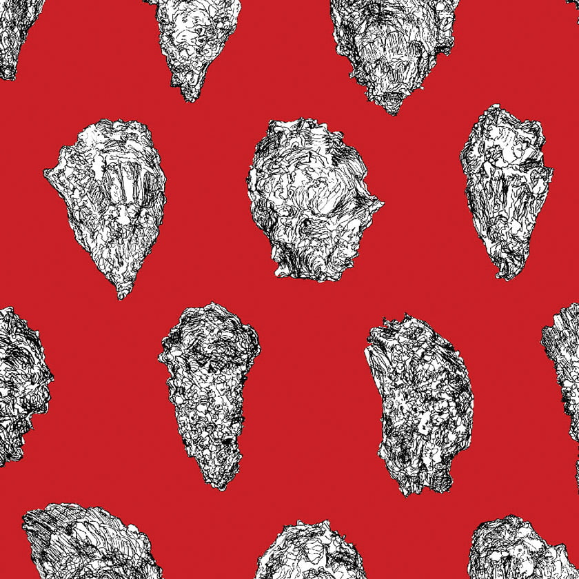Sarah Merenda's Oysters wallpaper: Black White on Red.