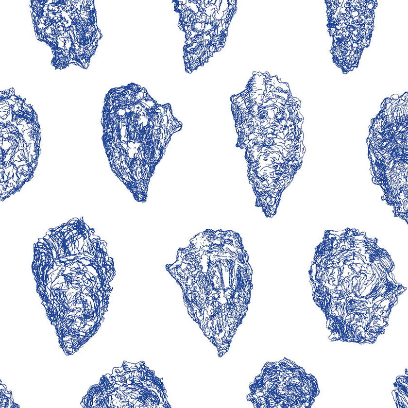 Oysters  wallpaper: China Blue on White.