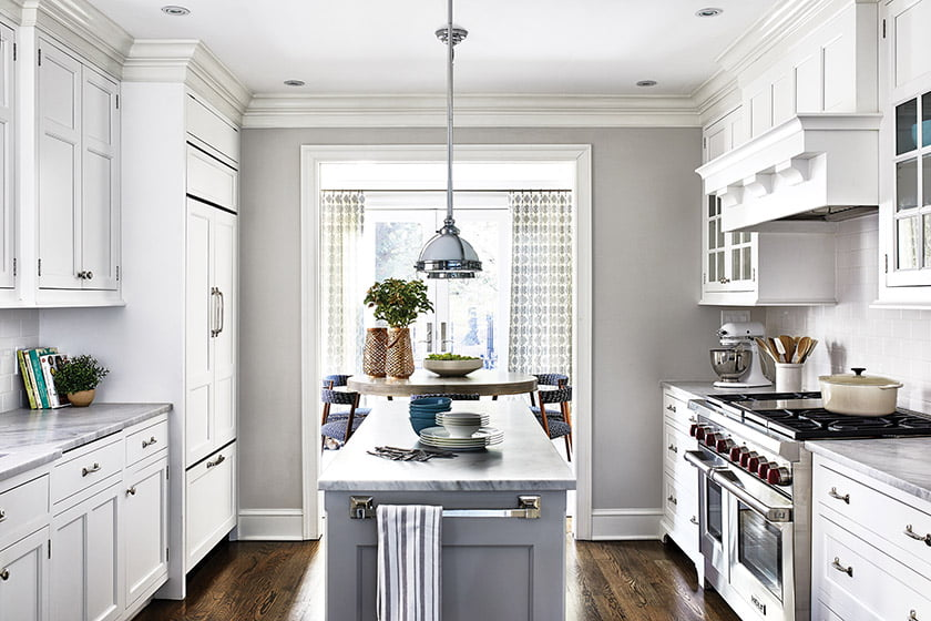 Previous owners renovated the kitchen in clean-lined, transitional style.