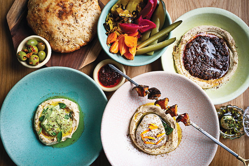 The enticing menu offers an array of hummus plates. Photo: Scott Suchman