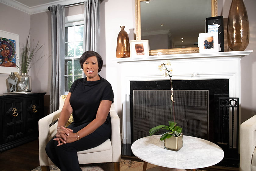 Mayor Bowser welcomes guests into her chic abode. Photo: Khalid Naji-Allah