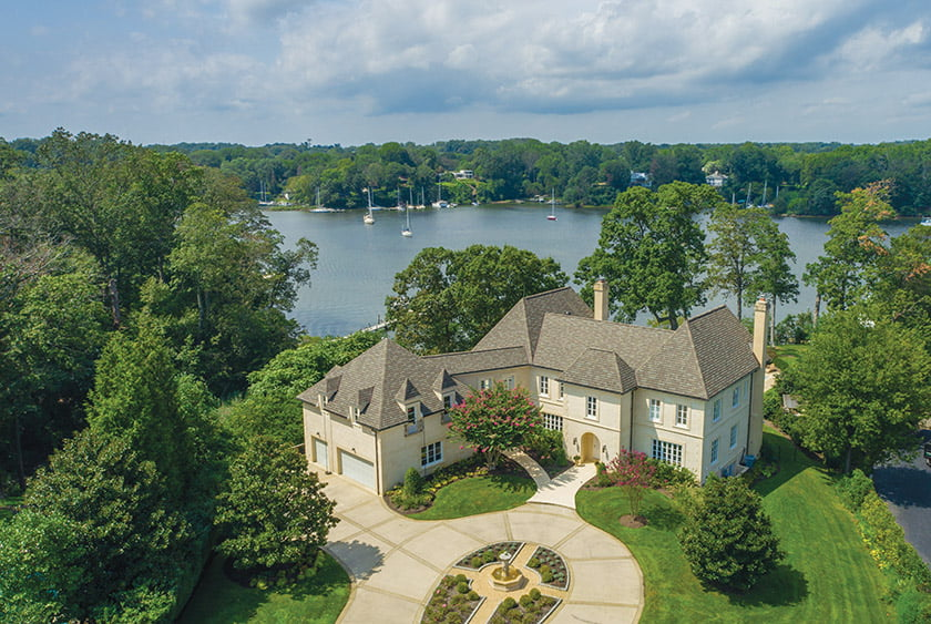 A French manor-style home on Wardour Drive overlooking the Severn River near Annapolis is listed for $6.89 million.