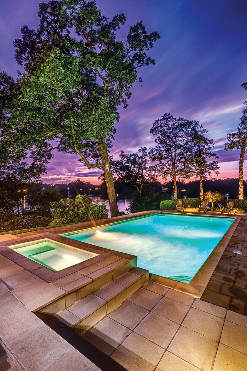 The Wardour Drive property features a new, 50-foot pool and an in-ground hot tub.
