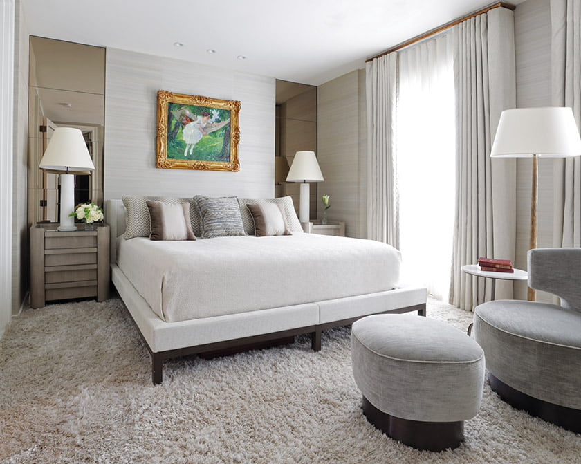 Luxurious textiles cocoon the owners' third-floor bedroom. The Christian Liaigre bed is swathed in Romo fabric.