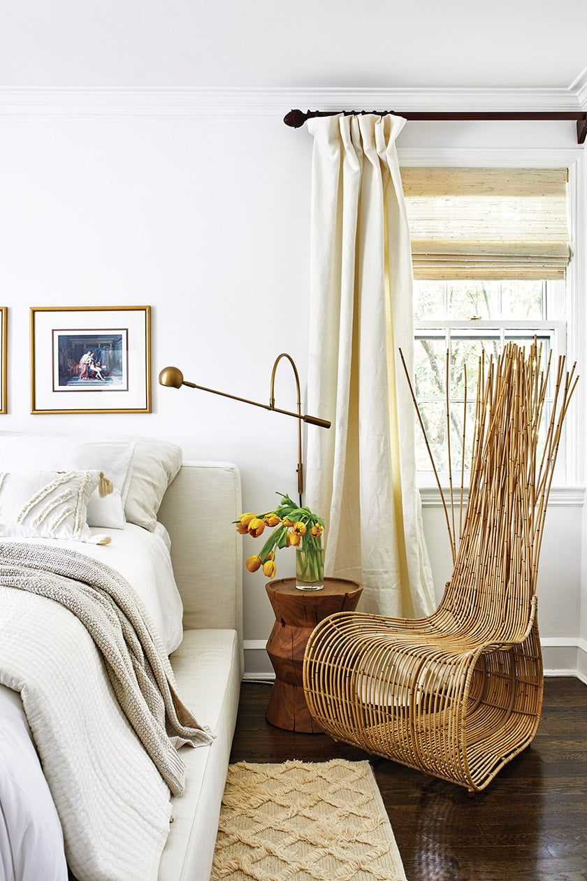 A bamboo chair creates a focal point.