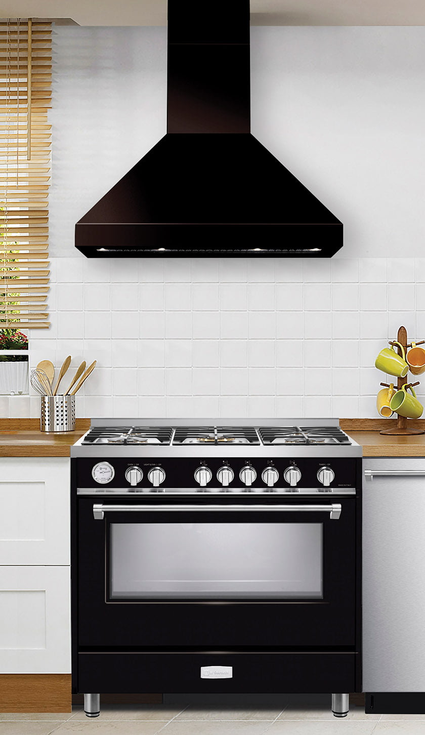 A classic chimney hood from Verona's Designer Ventilation Collection.