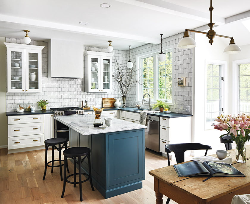 Kitchen designer Tanya Smith-Shiflett of Unique Kitchens and interior designer Alison Giese spearheaded this kitchen renovation that created a fresh, vintage- chic aesthetic.