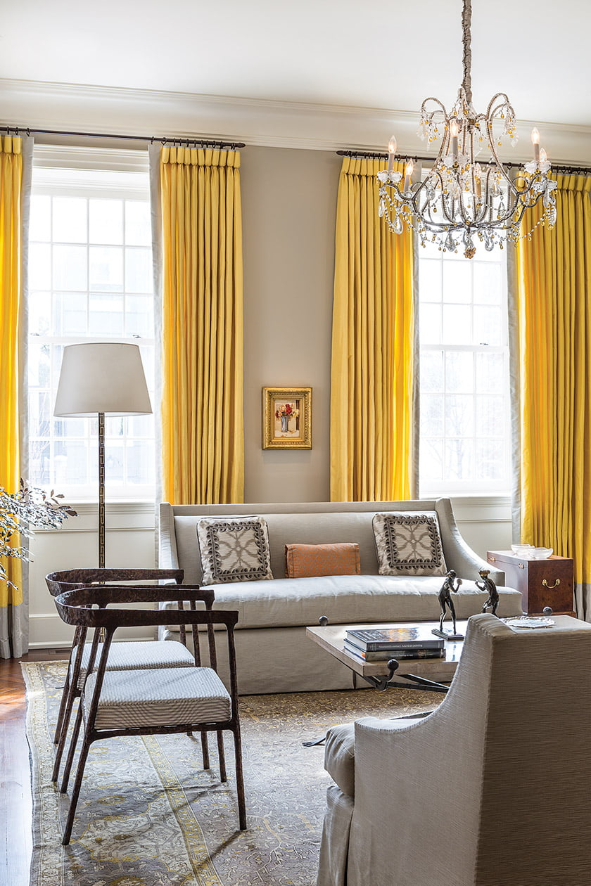 Cast-bronze chairs from John Lyle lend artistic flair to the front parlor.