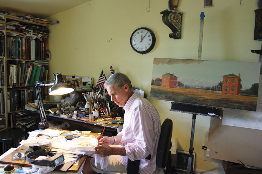 Waddell artist, shown in his studio at Tudor Place, carefully documents historical details in his work.