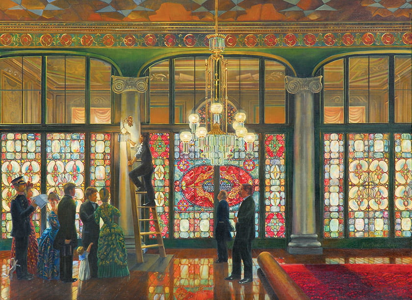 The Grand Illumination visits the White House in 1891, when a glass Tiffany screen graced the Entrance Hall.