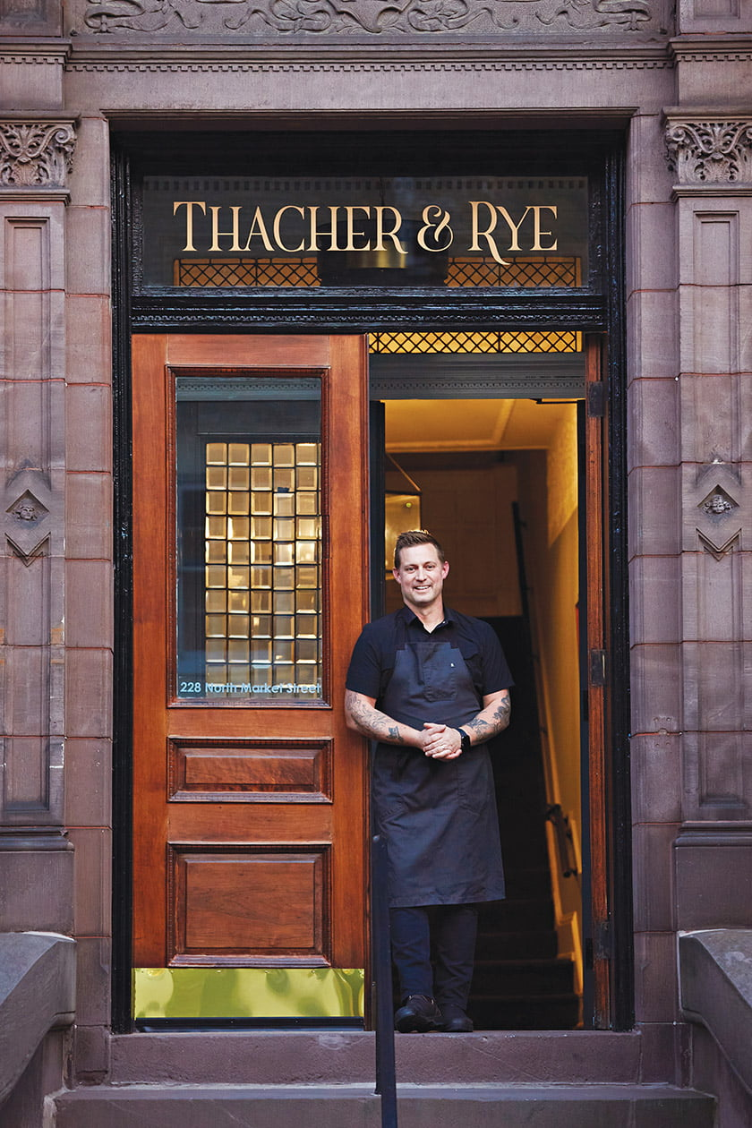 Chef Bryan Voltaggio welcomes guests to his new restaurant, Thacher & Rye. Photo: Deb Lindsey