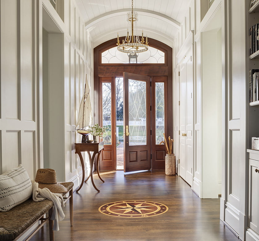 The compass rose inlay in the entry hall reveals the home's orientation. Photo: Durston Saylor