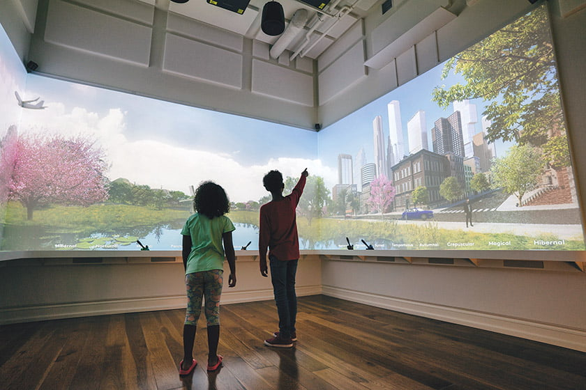 A multi-paneled image of a city park delights viewers in the Word Worlds gallery.