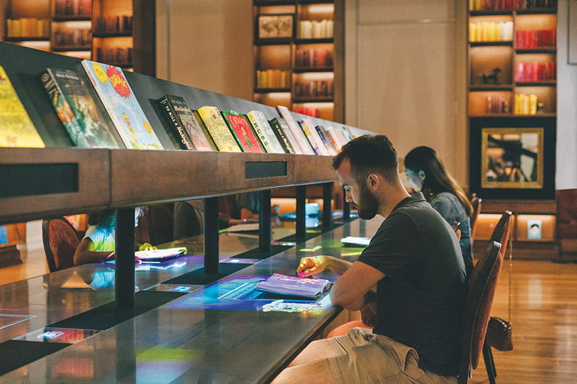 The Library gallery is a space for reading.