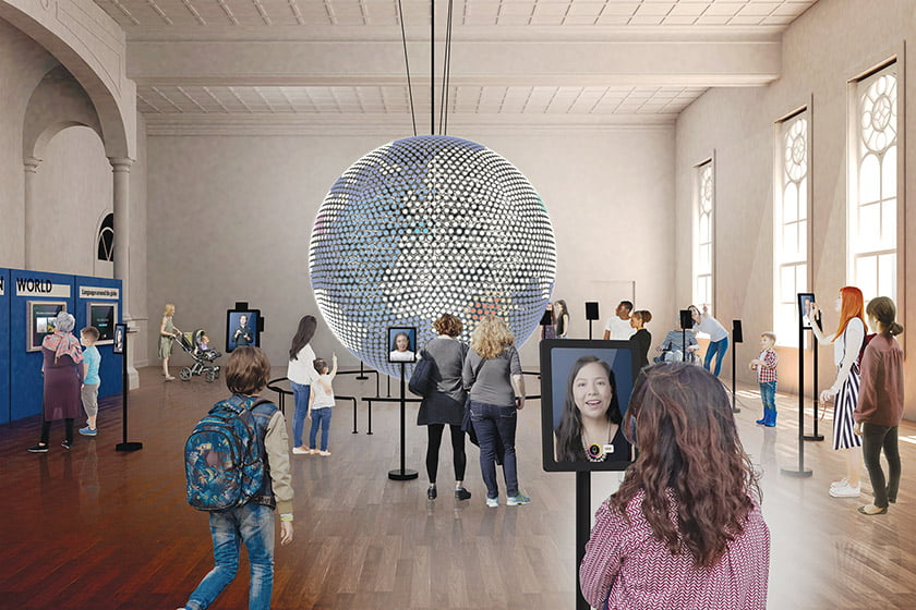 A globe made of 5,000 LED lights is a focal point in the Spoken World gallery.