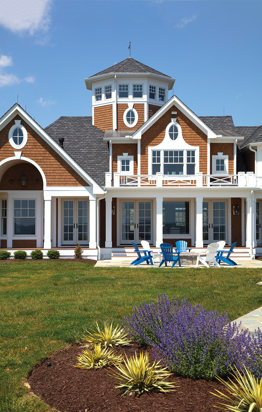 NuCedar engineered shingles convey the look of a home in the Hamptons but are designed to withstand the elements.