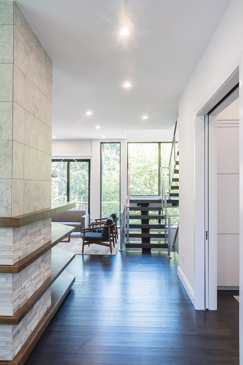 A new, steel-and-white-oak floating stair.