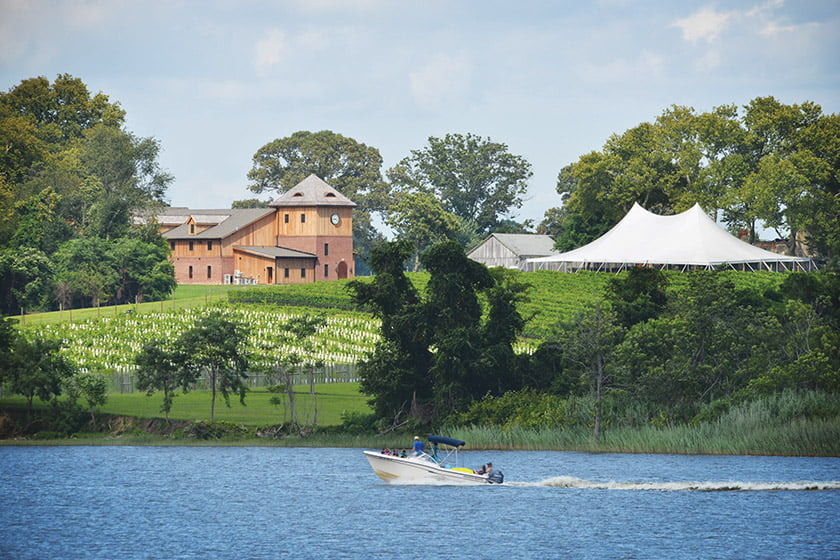Wine-tastings come with a view at Chateau Bu-De Winery & Vineyard, located on the Bohemia River in Chesapeke City.