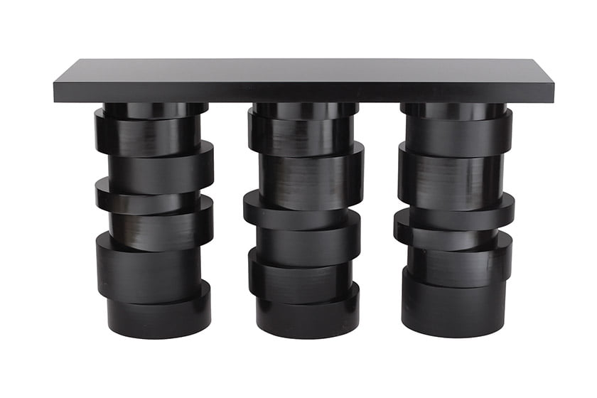 The Julia Console, in matte- and high-gloss black wood.