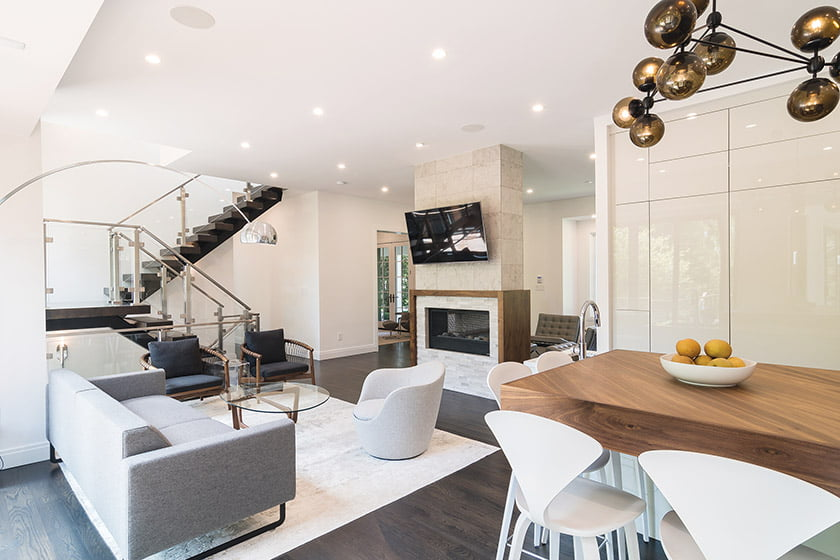 The interiors accommodate an open-plan kitchen/family room.