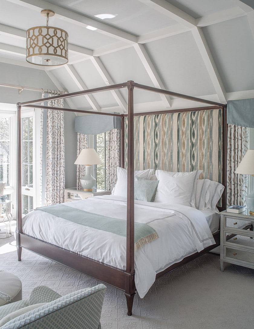 Cut-linen Lee Jofa velvet covers the bespoke headboard while luxurious Sferra linens dress the bed.