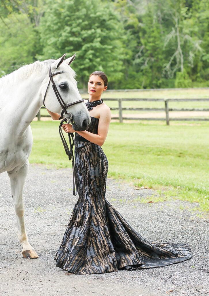 Silk moire corset and mermaid skirt by ella pritsker
