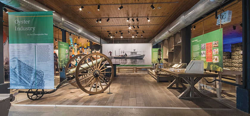 The Oyster Industry exhibit reveals harvesting methods while sharing personal stories of the trade.